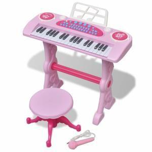 VidaXL Piano avec 37 touches et tabouret/microphone jouet pour enfants rose