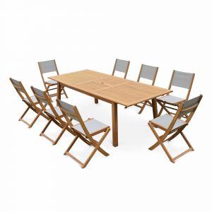 Alice's Garden Salon de jardin en bois Almeria, grande table 180-240cm rectangulaire 8 chaises eucalyptus FSC et textilène gris taupe