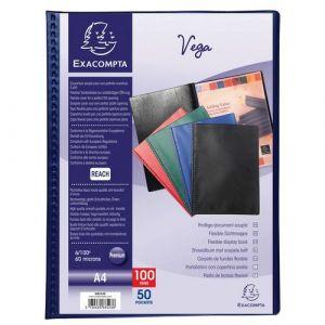 Exacompta Lot de 5 protège-documents PVC - 100 vues - vega opaque - A4 - Bleu - 88522E