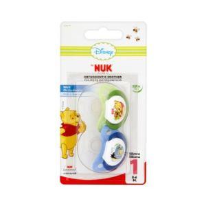 Nuk Pack de 2 sucettes Winnie l'ourson en silicone (0-6 mois)