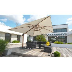 DCB Garden Parasol déporté en aluminium imitation bois et toile polyester Sevilla - 4 x 3m - Gris