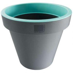 Provence Outillage Pot de fleurs rond Vert / Gris Diamètre : 25 cm Hauteur : 22 cm - ECKEN KANTEN