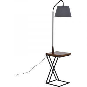 Homcom Table de nuit lampadaire table d'appoint lampadaire design contemporain chargeur sans fil & prise USB intégrés noir marron