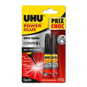 UHU Lot de 2 tubes de colle Power glue rapide - 2x3 g