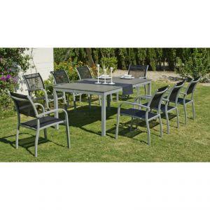 Hévéa Denis/Amberes - Table de jardin 180 cm et 8 fauteuils