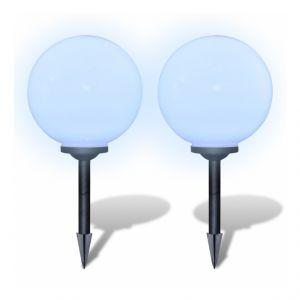 Boule solaire extérieure 30cm 2 pièces luminaire décoration