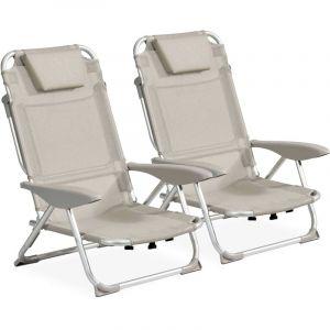 Clic clac des plages fauteuil Lot de 2 Gris clair CLIC CLAC DES PLAGES BY INNOV'AXE