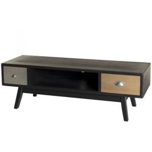 Meuble TV 2 tiroirs Noir L 120 x P 40 x H 40 cm