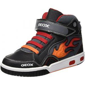 Geox Jr Gregg C, Baskets Hautes garçon, Noir (Black/Red C0048), 37 EU