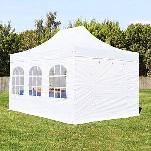 Intent24 Tente pliante / pliable PREMIUM 3x4,5 m avec fenêtres en Polyester de qualité blanc.FR