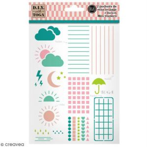 Toga D.I.Y with Trackers Pochoirs Bullet Agenda, Plastique, Blanc, 15x20cm