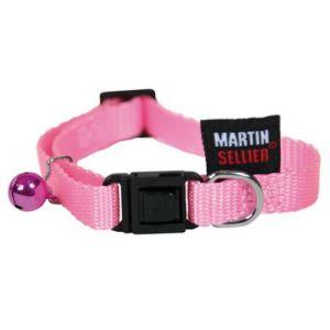 Martin Sellier Collier pour chat - nylon uni rose (20/30cm x 10mm)
