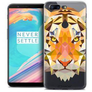 CaseInk Coque Gel OnePlus 5T (6 ) Extra Fine Polygon Animals - Tigre