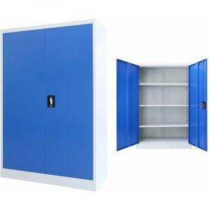 VidaXL Armoire de bureau Métal 90 x 40 x 140 cm Gris et bleu