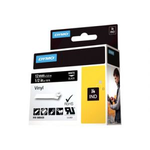 Dymo 1805435 - Ruban d%u2019étiqueteuse Vinyl tape blanc / noir 12 mm x 5,5 m