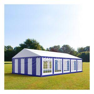 Intent24 Tente de réception 5 x 10 m PVC bleu-blanc