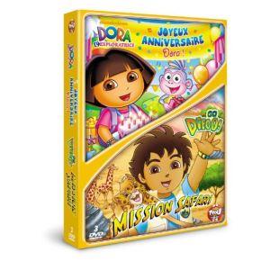 Coffret Dora l'exploratrice : Joyeux anniversaire Dora ! + Go Diego ! : Mission safari