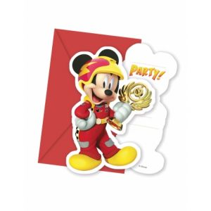 6 cartes d'invitations et enveloppes Mickey & Donald Racing