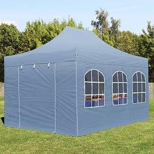 Intent24 Tente pliante 3x4,5 avec fenêtres gris fonce PROFESSIONAL tente pliable ALU pavillon barnum.FR