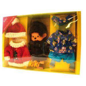 Ajena Kiki et ses deux habits : tenue hawaïenne et Père Noël (20 cm)