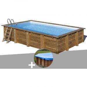 Sunbay Kit piscine bois Evora 6,00 x 4,00 x 1,33 m + Bâche hiver