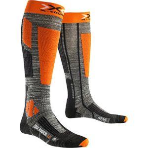 X-Socks Rider 2.0 Chaussettes de Ski Homme, Grey Melange/Orange, FR : XL (Taille Fabricant : 45-47)