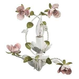 MW-Light Applique murale de style moderne et floral avec armature en métal couleur blanc et or et lampe en forme de bougie décorée avec cristal, pour chambre ou salon ampoule 1*40W E14 non inclu