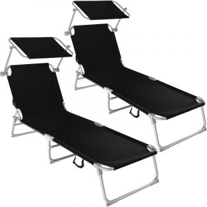 TecTake Chaise longue, Transat, Bain de soleil, Pare Soleil, Multi positions, Pliable 190 cm Noir X 2