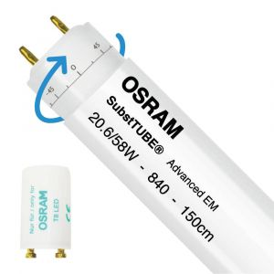 Osram SubstiTUBE Advanced EM 20.6W 840 150cm | Blanc Froid - Starter LED incl. - Substitut 58W - Rotatif