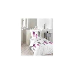 Plume Rose Poétique - Housse de couette et taie 100% coton 42 fils (140 x 200 cm)