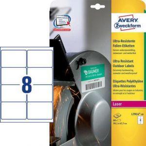 Avery-Zweckform Etiquettes ultra-résistantes en polyéthylène 99.1 x 67.7 mm x 80