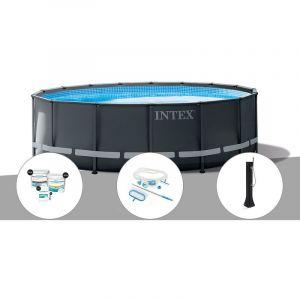 Intex Kit piscine tubulaire Ultra XTR Frame ronde 5,49 x 1,32 m + Kit de traitement au chlore + Kit d'entretien + Douche solaire