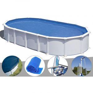 Gre Kit piscine acier blanc Atlantis ovale 7,44 x 3,99 x 1,32 m + Bâche hiver + Bâche à bulles + Kit d'entretien + Douche