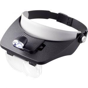 Toolcraft Loupe frontale avec éclairage LED Facteur de grossissement: 1.2 x, 1.8 x, 2.5 x, 3.5 x Taille de la lentille: (L x l) 102 mm x 57 mm noir TO-5137803