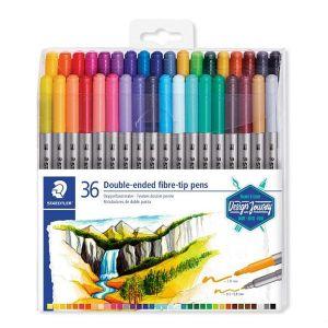 Staedtler Feutres à double pointe pour écriture et coloriage, Pointe fine de 0.5-0.8 mm et pointe compacte extra-large de 3 mm, Étui plastique avec 36 couleurs lumineuses différentes, 3200 TB36