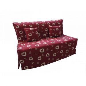 Inside75 Canapé BZ convertible FLO rouge motifs coeurs 140*200cm matelas confort BULTEX