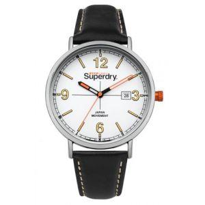 Superdry Montre SYG190B - Montre Bracelet Cuir Noir Boîtier Acier Homme