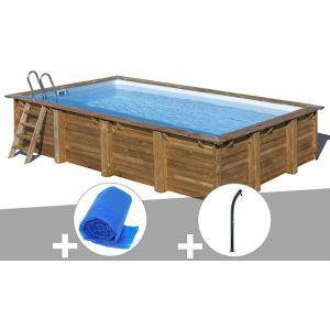 Sunbay Kit piscine bois Evora 6,00 x 4,00 x 1,33 m + Bâche à bulles + Douche