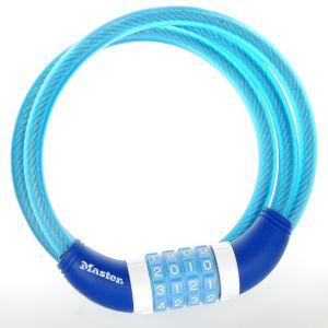 Master Lock Câble antivol à combinaison bleu 120 cm pour vélo