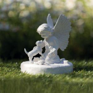 Trixie Pierre commémorative chien avec ange 38418 Dimensions : Ø 12 × 14 cm couleur:Blanc