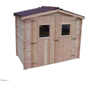 Habrita Abri DALIA madriers 20 mm sans plancher toit double pente 5,32 m²