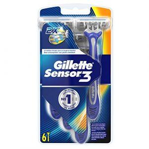 Gillette Sensor3 Rasoirs Jetables Pour Homme - Lot De 6
