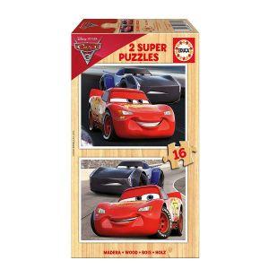 Educa Cars 3 Flash McQueen VS Jackson Storm - Puzzle en bois 2 x 16 pièces
