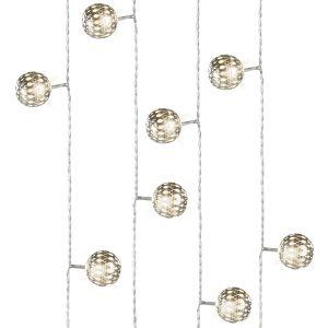 Lumineo Guirlande LED boule métal argent