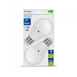 V-TAC VT-2109 - Lot de 2 ampoules LED e27 9 W = 60 W SMD bulbe avec capteur crépusculaire lumière naturelle 4000 K - SKU 7286