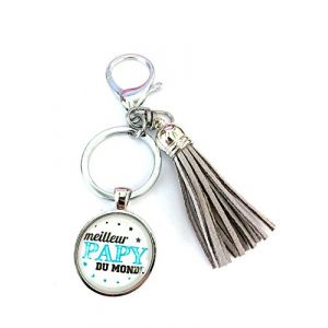 WeWoo Kiddybo Porte clés / bijou de sac idée cadeau fête des papy / fête des grands-pères, anniversaire, noël ... (Gris Meilleur papy du monde)