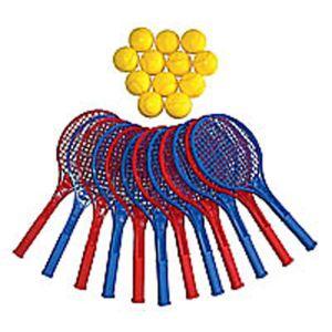 Lot de 12 raquettes de tennis plastique et balles en mousse