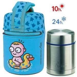 Laken Katuki saguyaki%u2013Thermo enfant pour solides 0,5L avec housse en néoprène bleu et tapa-bol