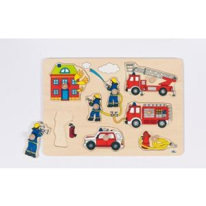 Goki 57907 - Puzzle à encastrements Pompier 8 éléments