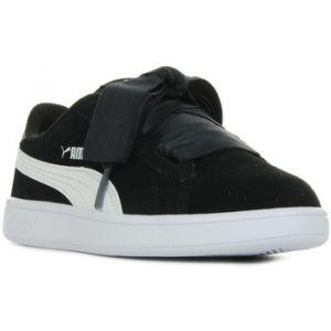 Puma Smash V2 Ribbon AC PS, Sneakers Basses Mixte Enfant, Noir Black White, 33 EU
